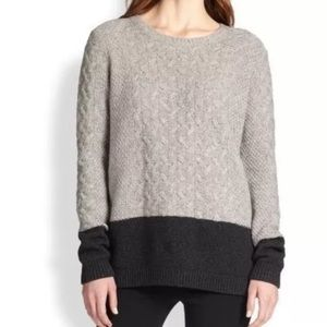 Vince Chunky Cable Knit Crew Neck Sweater Gray M